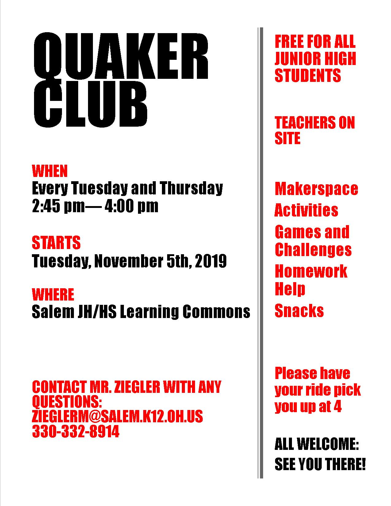 Quaker Club flyer 2019/2020